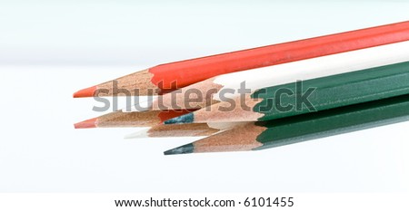 Crayons on the white background.