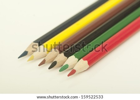 Crayons on the white table