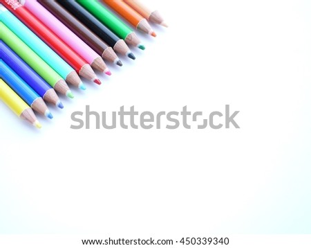 Crayons on white background.