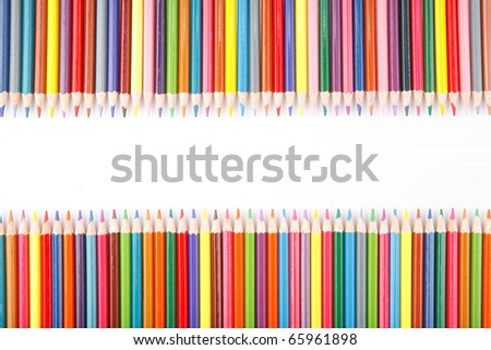 crayons on white background - stock photo