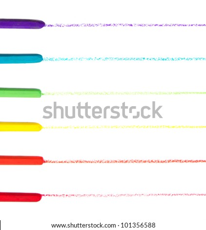 crayons or oil pastels drawing lines on paper, on white background - stock photo