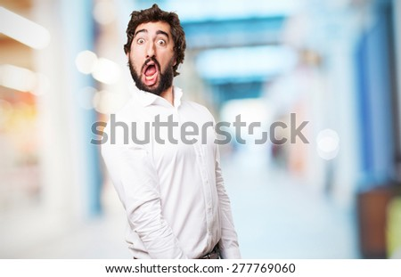 crazy amazed man - stock photo
