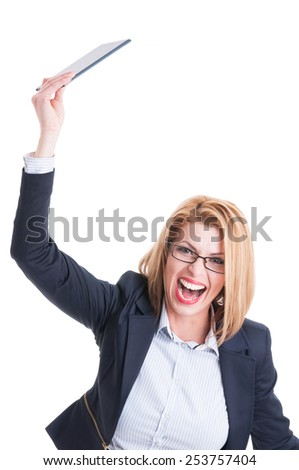 Crazy and angry business woman throwing tablet and shouting. Furious manager concept on white background - stock photo