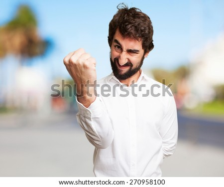 crazy angry man - stock photo
