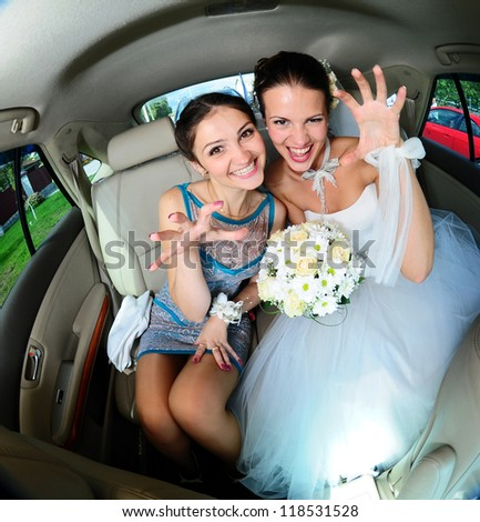 Crazy bride and Friend - stock photo