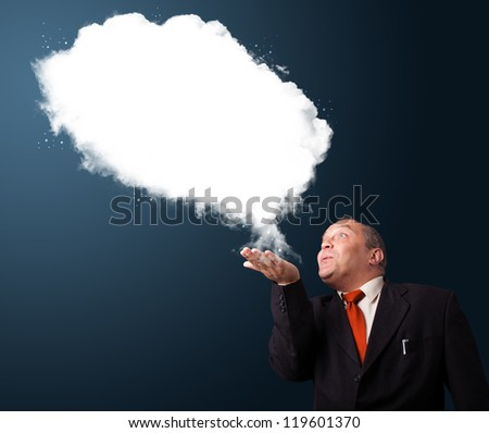 Crazy businessman in suit presenting abstract cloud copy space