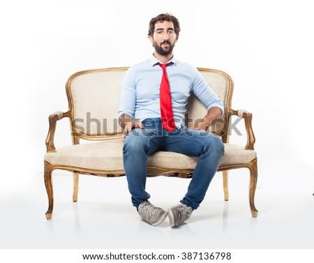 crazy businessman sitting - stock photo