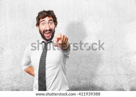 crazy businessman surprised expression - stock photo