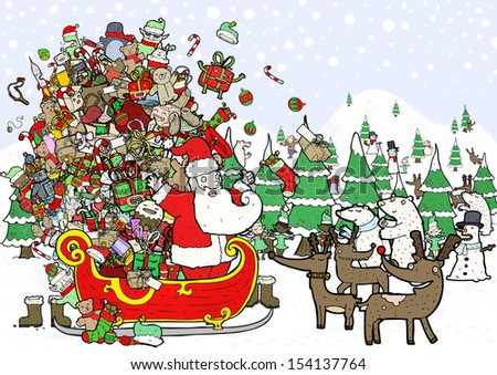 crazy busy christmas illustration - stock photo