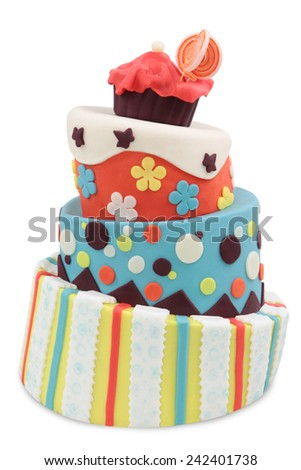 crazy cake decorated with fondant - isolated on white background