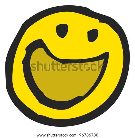 crazy cartoon smiley face - stock photo