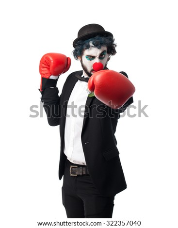 crazy clown man boxing - stock photo