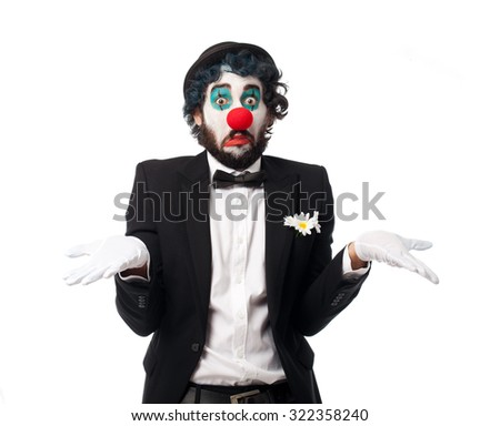 crazy clown man confused - stock photo