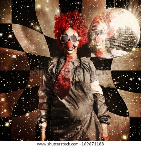 Crazy dancing disco clown on a psychedelic trip of distortion, raving underneath a spinning mirror ball in retro shades. Dr DJ - stock photo