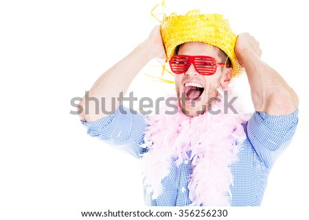 Crazy disguised businessman - stock photo