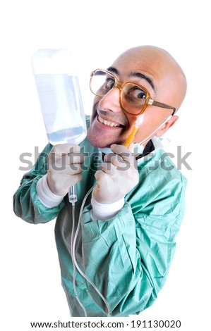 Crazy doctor in uniform with serum - stock photo