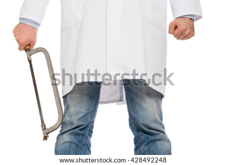 Crazy doctor is holding a big saw in his hands, isolated on white - stock photo