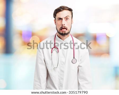 crazy doctor man joking - stock photo