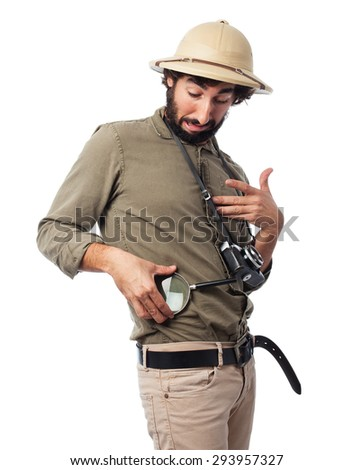 crazy explorer man with magnifying glass