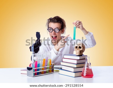 Crazy female chemist in lab
