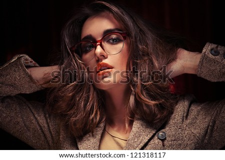 Crazy girl with glasses