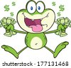 Crazy Green Frog Cartoon Character Jumping With Cash. Raster Illustration Isolated on white - stock vector