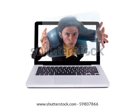 Crazy guy in a laptop, isolated on white