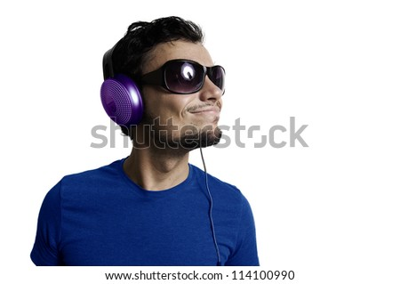 Crazy guy with headphones on white background - stock photo