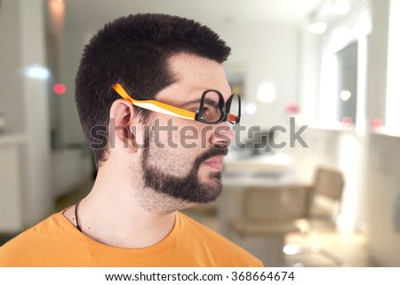 Crazy guy with sunglasses - stock photo