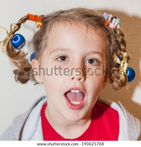 Crazy Hair Day at school is usually a day during a school's spirit week - stock photo