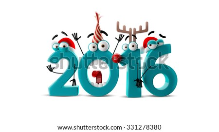 Crazy happy New Year number, 2016 funny christmas card, cartoon characters isolated on white background - stock photo