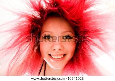 Crazy happy redhead - stock photo