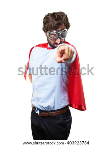 crazy hero angry expression - stock photo