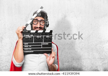 crazy hero surprised expression - stock photo