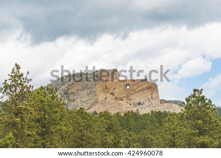 crazy horse memorial above the forest on the day,South Dakota,usa. - stock photo