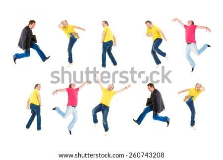 Crazy Jumping Funny Concept  - stock photo