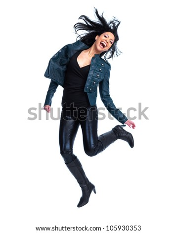 Crazy jumping woman. Isolated over white background.
