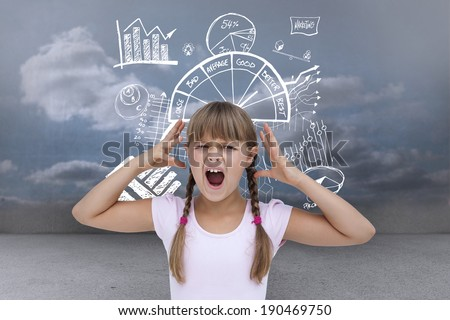 Crazy little girl against clouds in a room - stock photo