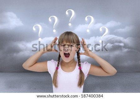 Crazy little girl against clouds in a room with question marks - stock photo