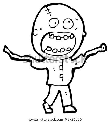 crazy madman cartoon (raster version) - stock photo