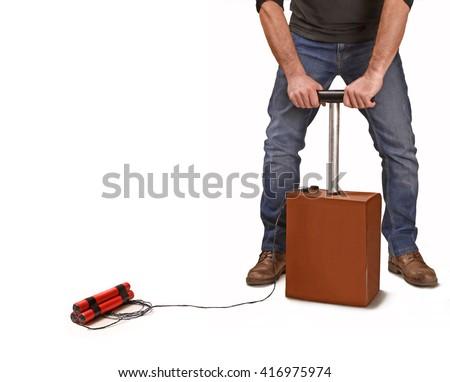 Crazy man activating explosive detonator box. - stock photo