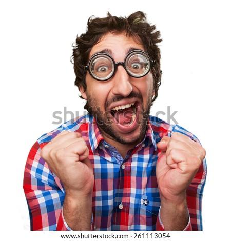 crazy man celebrating gesture - stock photo