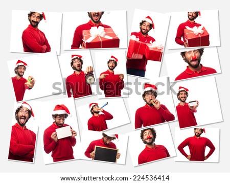 crazy man christmas concept - stock photo