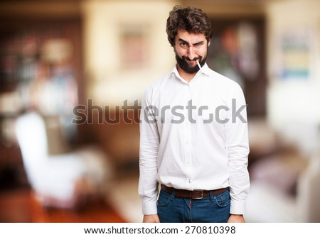 crazy man crying. indoor house background - stock photo