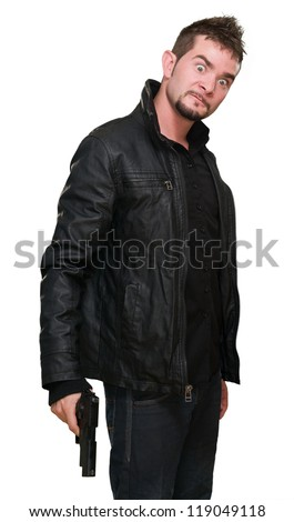 crazy man holding a gun against a white background - stock photo