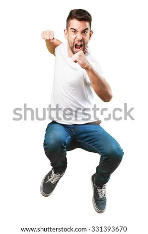 crazy man jumping - stock photo