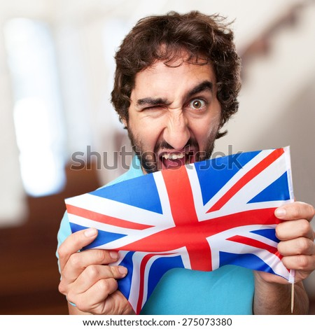crazy man with flag