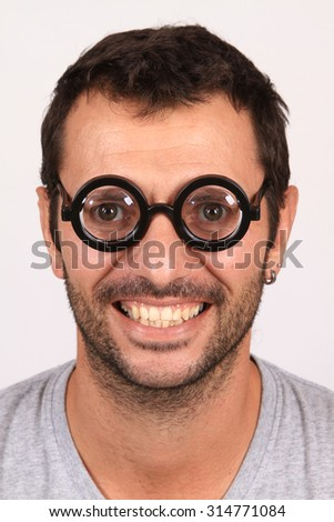 crazy man with funny glasses - stock photo