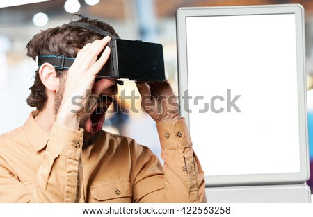 crazy man with virtual glasses.funny expression