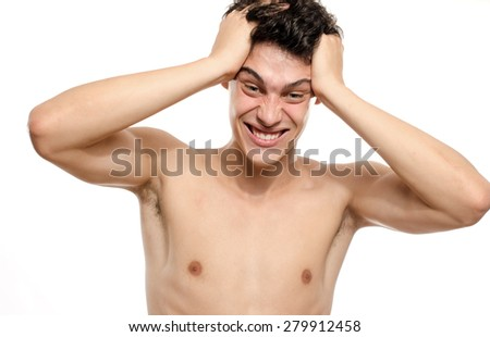 Crazy man yelling, upset exploding and screaming frustrated. Man stressed and angry - stock photo